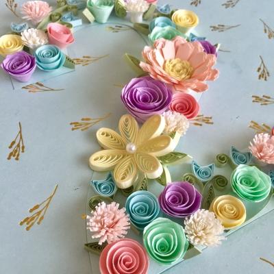 誕生日paperquillingペーパークイリングNKcraft菊地七夢結婚式サンクスボード手作り教室東京