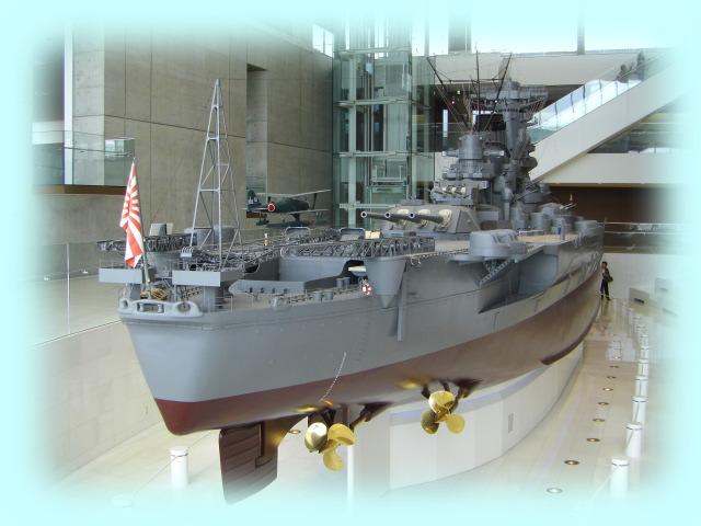 「大和ミュージアム」戦艦大和の10分の1模型の後部。