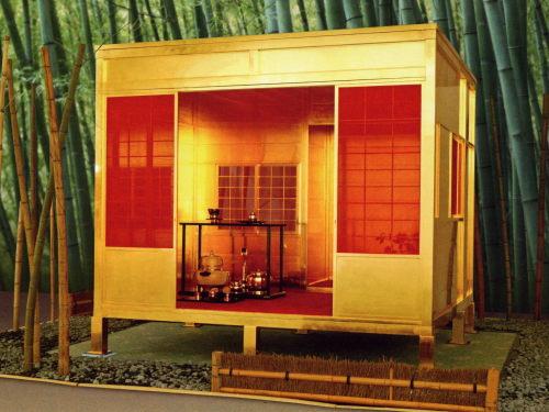 黄金の茶室。SGC信州ゴールデンキャッスル絵葉書より。