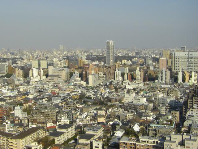 文京シビックセンターからの眺め。正面の緑の地区は、上野の森