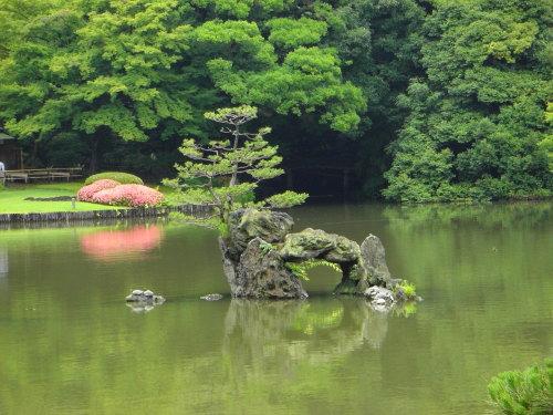 六義園の池の中の蓬莱島で、洞窟のように作られているから、向こうが見える。