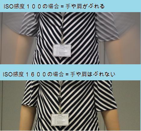 ISO感度が100の場合と1600の場合との比較。動くものでも1600の方が止まって写る。
