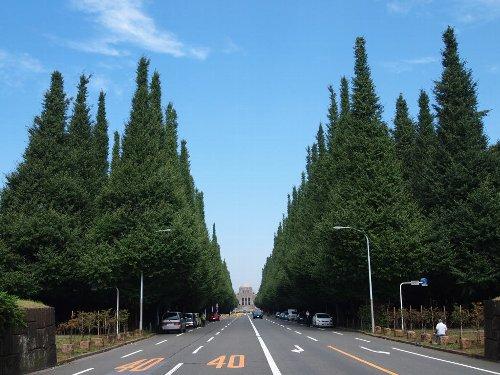 外苑前の銀杏並木から神宮絵画館を望む