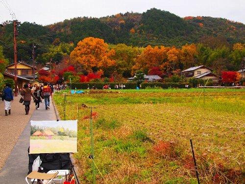 嵯峨野で描きかけのキャンバス