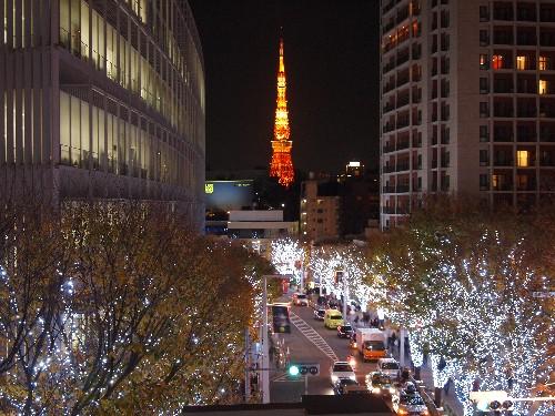 「けやき坂」から眺める東京タワー