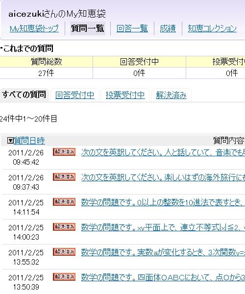Yahoo! Japan(ヤフージャパン)知恵袋に対する「aicezuki」の投稿一覧