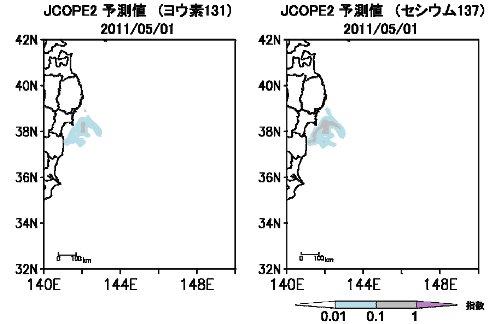 海域における放射能濃度のシミュレーション(5月1日)