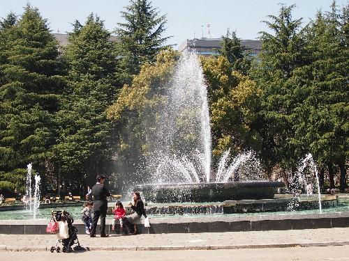 大噴水の広場での家族