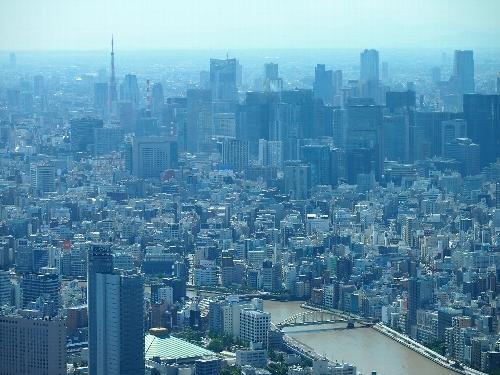 東京スカイツリーからの眺め、隅田川〜東京タワー方面