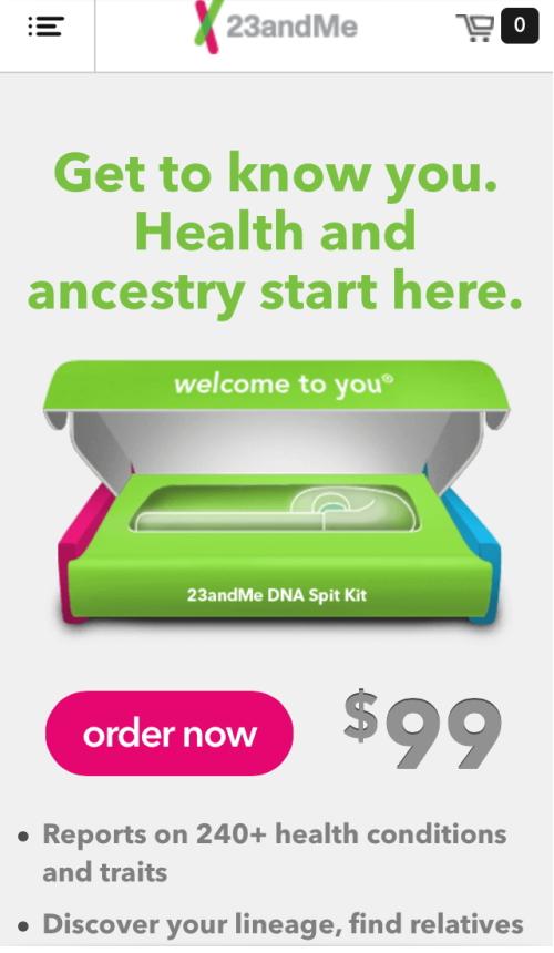 23andMeのホームページ