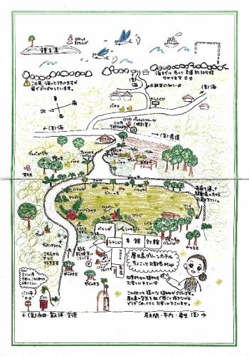 屋久島グリーンホテル周辺の散歩コースが描かれた紙