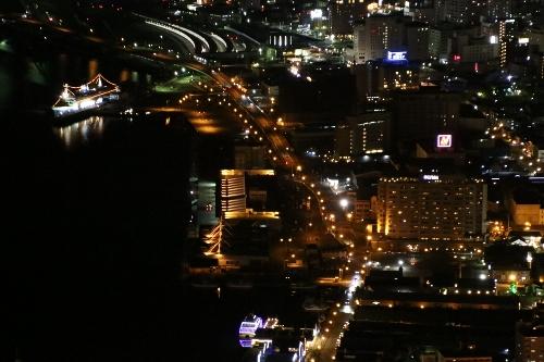 函館の夜景の拡大
