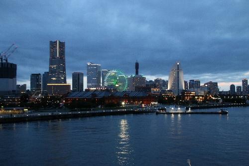 横浜みなとみらい21地区の本物の夜景