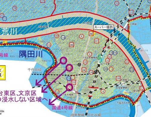 足立区作成の浸水ハザードマップ
