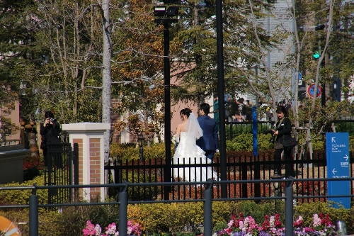 結婚式に向かう新郎新婦が運河に添って歩く