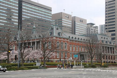 法務省のレンガ造りの建物に咲く染井吉野の桜