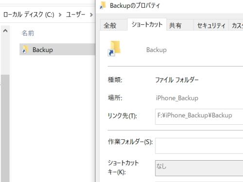 バックアップのリンク先がFディレクトリとなっている。