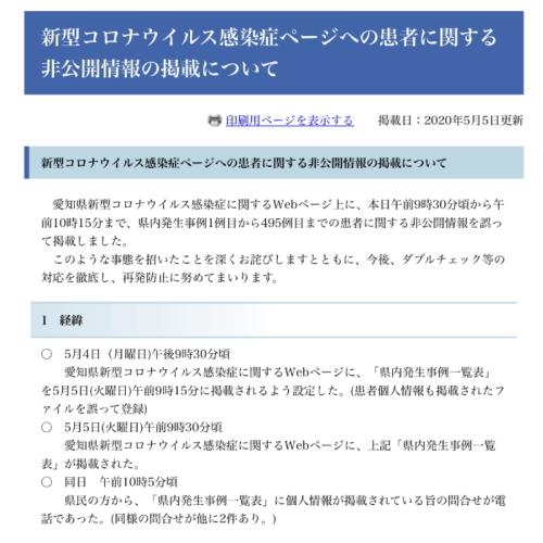 愛知県の新型コロナウイルス感染症に関する情報漏洩のお詫び