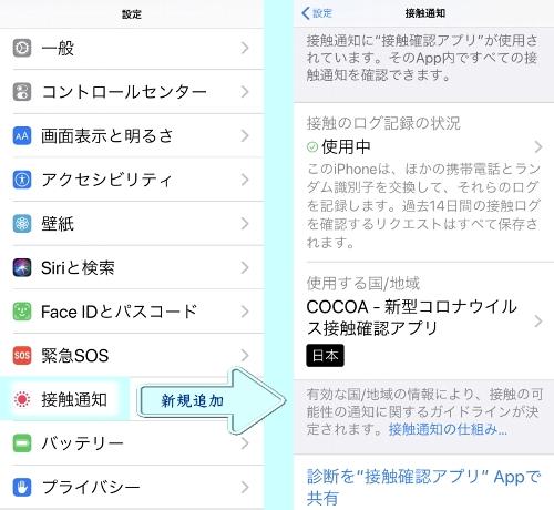 接触確認機能が追加されたiOS13.7