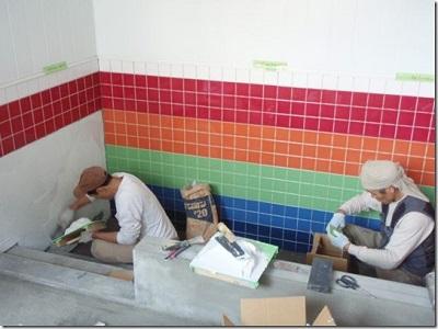 浴室のタイル工事