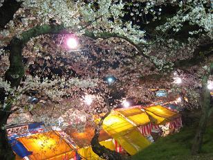 桜の下の夜店