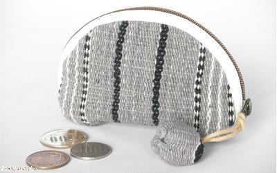 カレン手織り布のコインケース(グレー)