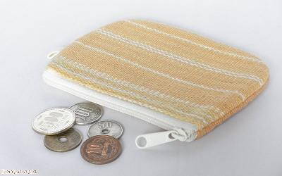 カレン手織り布のコインケース(黄)