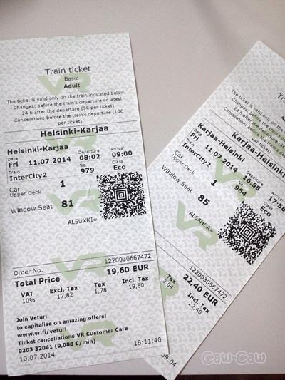 フィンランド鉄道VRチケット