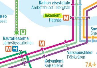 中央駅からハカニエミまでトラム路線図
