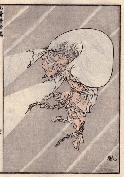 北斎漫画「風神」