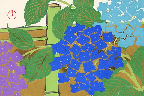 神坂雪佳木版画「紫陽花」