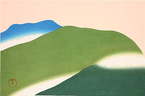 木版画 神坂雪佳「吉野」