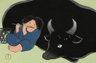【木版画】神坂雪佳 『牧童』