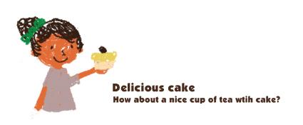 女の子とケーキ