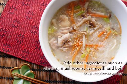 コラーゲン鍋の素ではるさめスープ