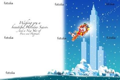 クリスマスカード 雪の降る街