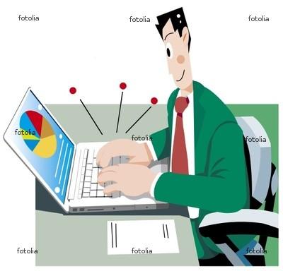 ノートパソコンとビジネスマン