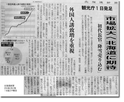 北海道新聞9/28朝刊・観光庁
