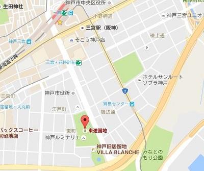 東遊園地の地図
