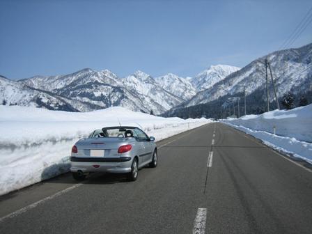 プー、雪山をのぞむ