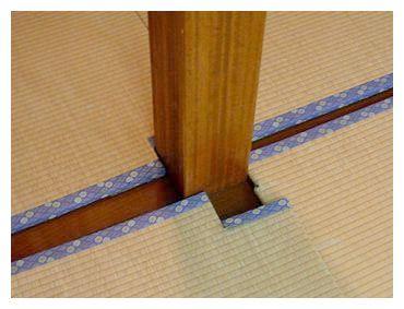 きすげの畳−柱の部分の切り欠き