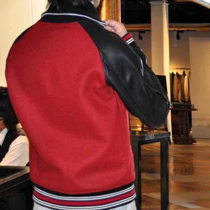 MIHARAYASUHIRO MELTON X HORSE LEATHER スタジアムジャンパー RED