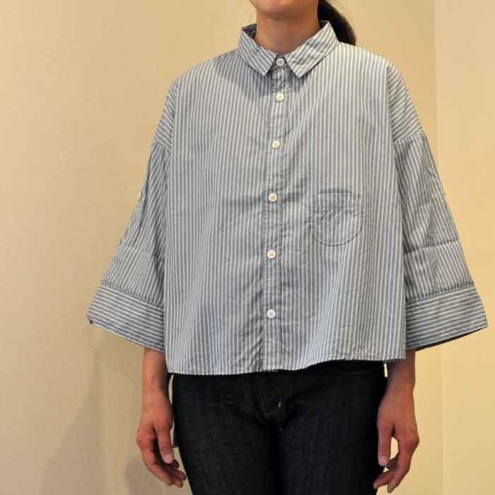 GRANDMA MAMA DAUGHTER [KATO']ロールアップスリーブシャツBG X BLUストライプ