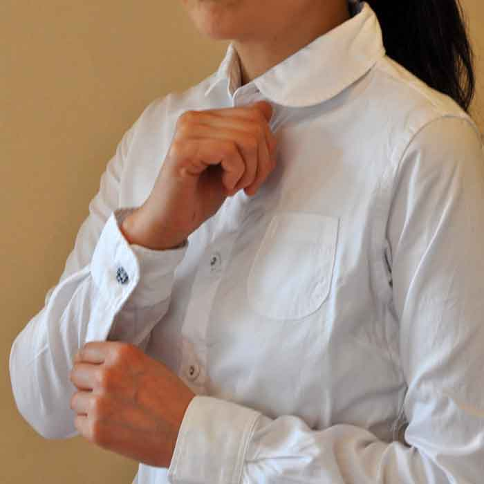 GRANDMA MAMA DAUGHTER [KATO'] ROUND COLLAR SHIRT 白