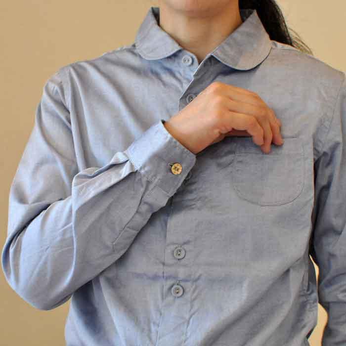 GRANDMA MAMA DAUGHTER [KATO'] ラウンドカラーシャツ BLUE