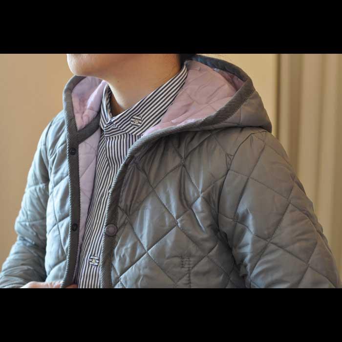 LAVENHAM CRAYDON [ラベンハム]キルティングフードジャケットGRY/PINK