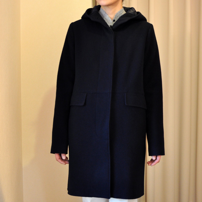 TRADITIONAL WEATHERWEAR DISSフーデッドウールコートNavy