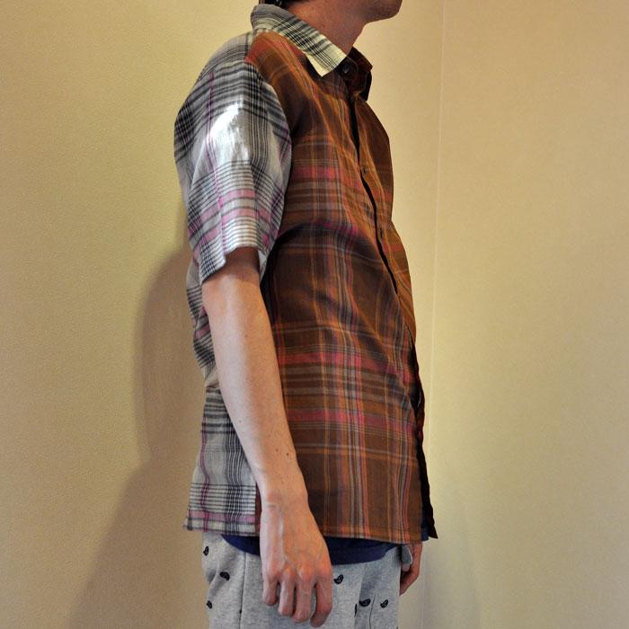 bawa [アルパナバワ] マドラスチェック半袖シャツ brown
