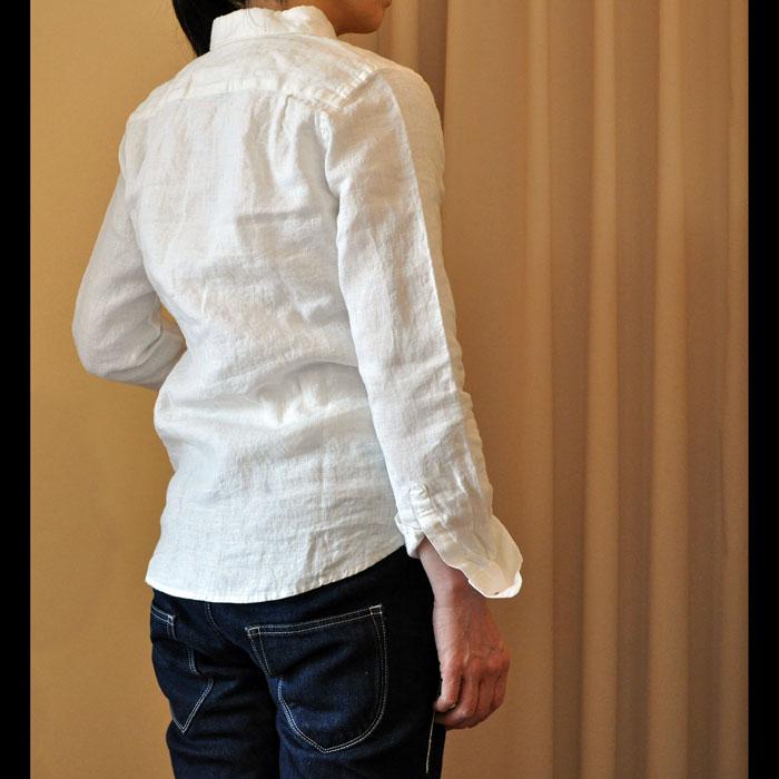 James Mortimer [ジェームスモルティマー] アイリッシュリネンレディースBDシャツ Ivory