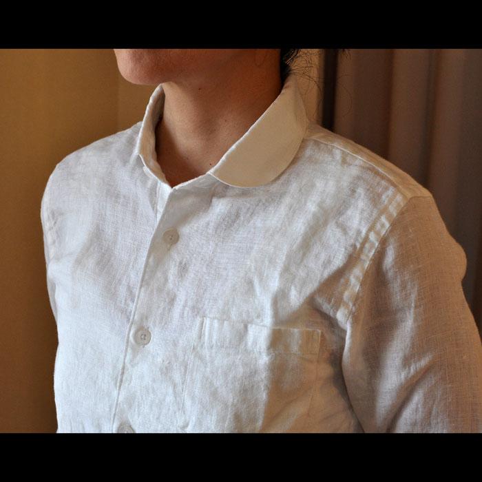 ames Mortimer [ジェームスモルティマー] アイリッシュリネンレディースラウンドカラーシャツ Ivory